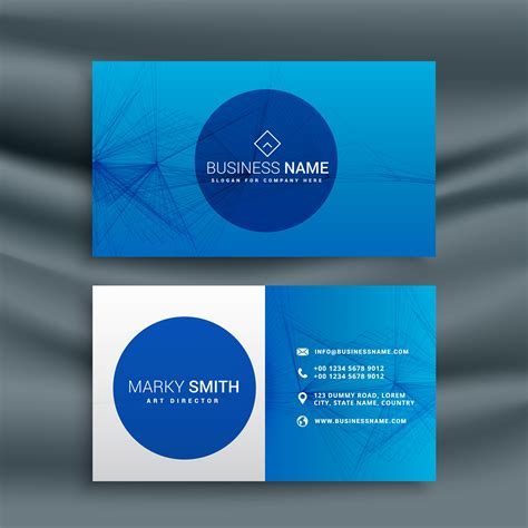 Blue Business Card Template by Blue Business Card Template With Abstract Wire Mesh Shape