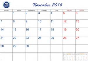November Calendar Template by November 8 2016 Printable Calendar Template 2016