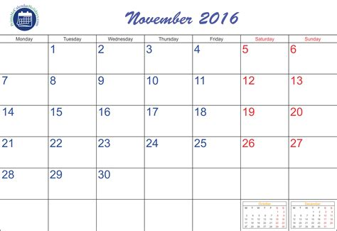 2016 Calendar Printable With Holidays Free November 2016 Calendar Printable Printable 2017 Calendar