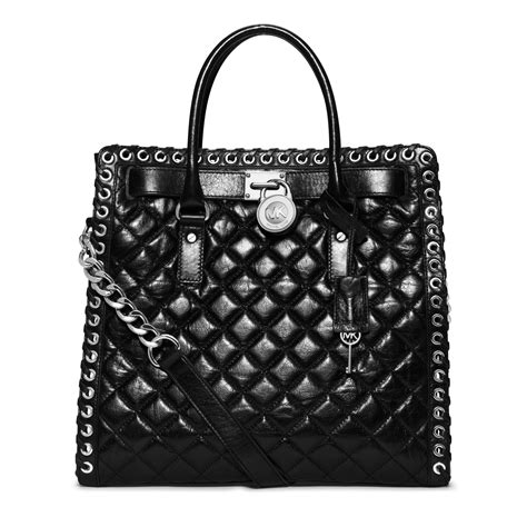 Erva Quilted Leather Bag by Michael Kors Hamilton Large Grommet Quilted Leather Tote