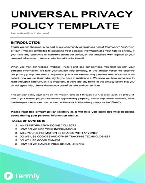Free Privacy Policy Templates Website Mobile Fb App Termly Free App Privacy Policy Template