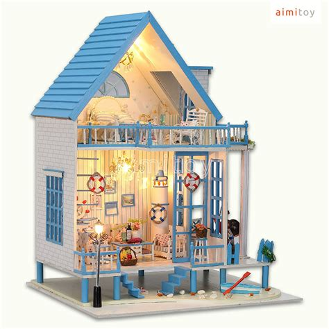 dolls house big w a38 big wood doll house blue beach house w all furnitures diy kits