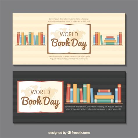 banner design book banners book shelves with books in flat design vector