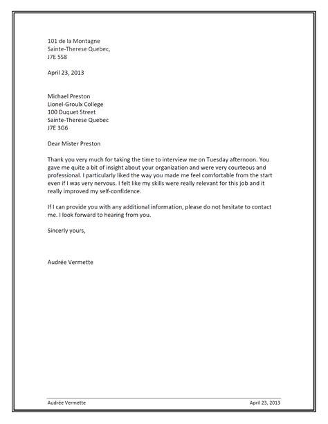 Exemple De Lettre De Remerciement Entrevue modele lettre de remerciement