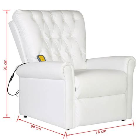 sillon reclinable de masaje sill 243 n de masaje reclinable de piel sint 233 tica blanco