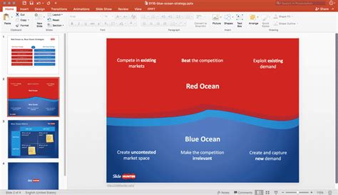 Free Blue Ocean Strategy Powerpoint Template Free Powerpoint Templates Slidehunter Com Blue Strategy Powerpoint