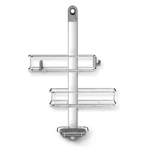 Shower Door Caddy Stainless Steel Simplehuman 3 Tier Adjustable Shower Caddy In Aluminum And Stainless Steel Bt1098 The Home Depot