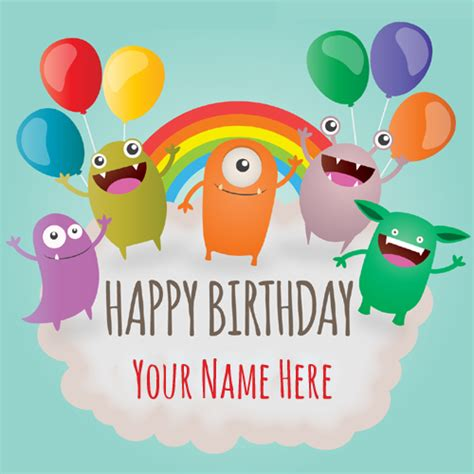 Happy Birthday Name Card Write Your Name On Birthday Cards