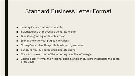 formal standard business letter format templates