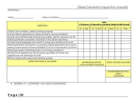 Diesel Generator Inspection Checklist Generator Checklist Template