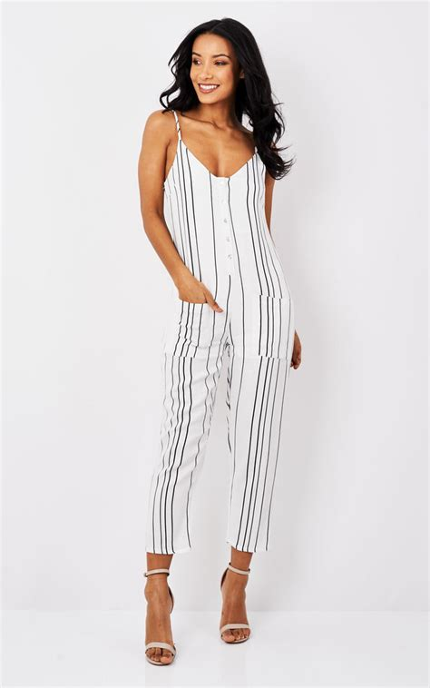 Stripe Botton stripe button up jumpsuit silkfred