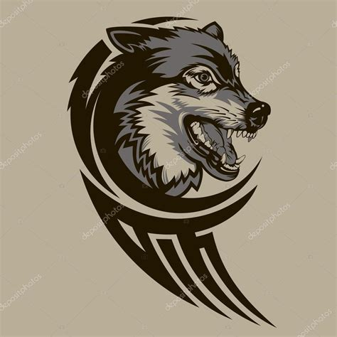 wolf tribal tattoo stock vector 169 georglaz 62277649