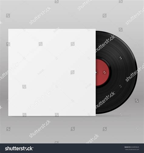 black vinyl record disk paper case 스톡 벡터 604899620