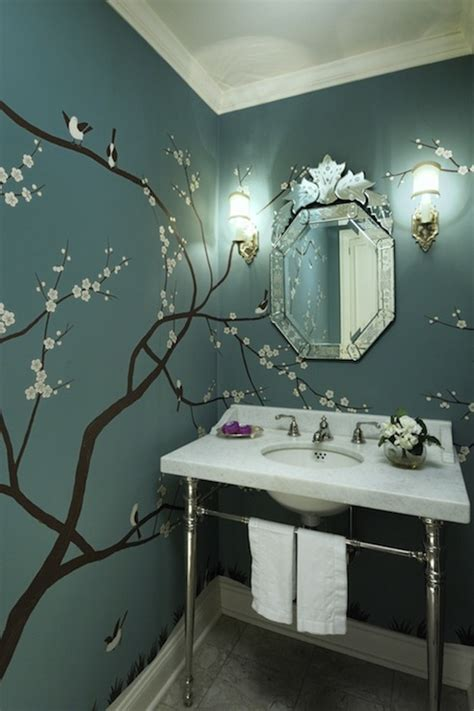 bathroom mural ideas cheery blossom wall mural contemporary bathroom