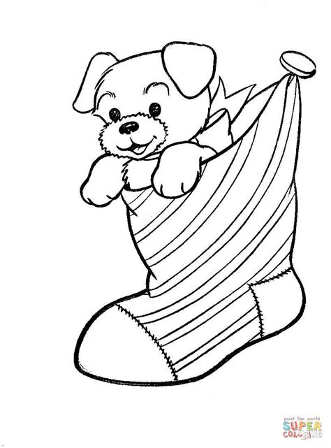 cute stocking coloring page a puppy dog in a christmas stocking coloring page free
