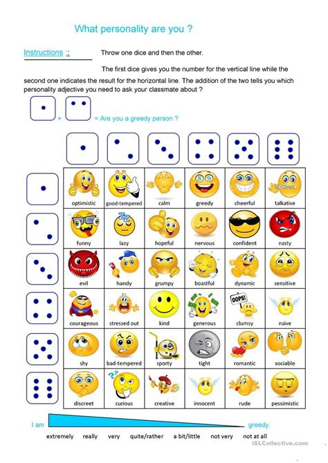 dice pattern activities personality dice game worksheet free esl printable