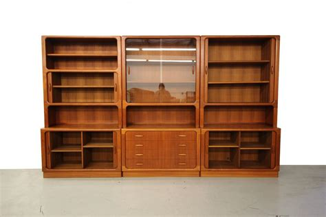 wall unit storage set of three midcentury danish teak wall unit bookcase