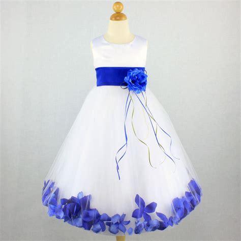 Blue And Flower Flowers S M L Dress 43431 royal blue wedding flower dress petals pageant gown bridal recital ebay
