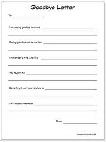 goodbye letter worksheet therapist aid