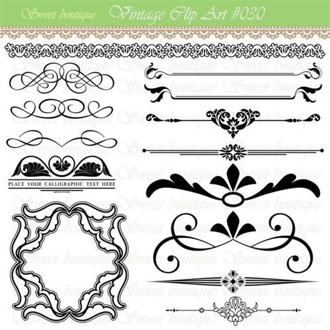 wedding invitation artwork text dividers digital clipart page decoration ornate set