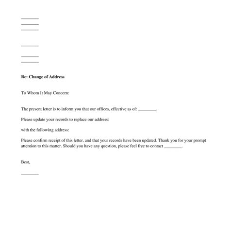 Change Of Address Letter Template Word Pdf Change Of Address Template