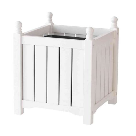 dmc lexington 14 in square white wood planter 70302 the