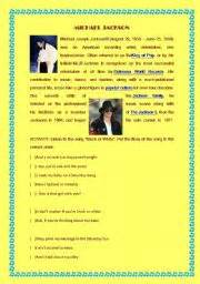 michael jackson biography worksheet pdf english worksheet song black or white