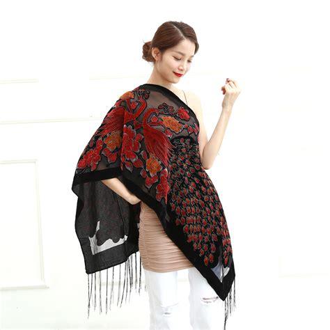 Pashmina Rafashion 12 colors uk peacock velvet shawl scarf fashion winter pashmina poncho us gift for