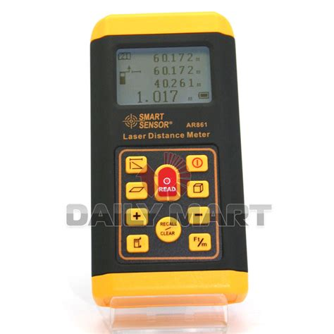 Berkualitas Smart Sensor Ar861 Laser Distance Meter 60m smart sensor new ar861 2 quot lcd digital laser distance sound meter range finder 60m ebay