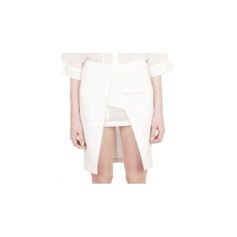 buy lavish panelled geometric mini pencil skirt white