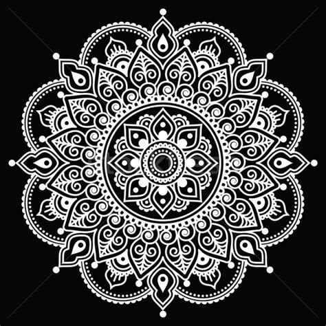 mehndi indian henna tattoo white pattern on black