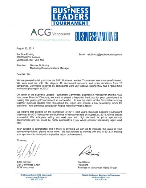 Sponsorship Letter For Karate Business Leaders Golf Tournament Thank You Letter To Pacblue Printing