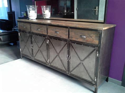 meuble bois et acier meuble industriel buffet acier et bois meubles et