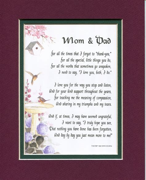 Wedding Anniversary Poems For Parents by Quot And Quot 135 Touching 8x10 Poem Matted In