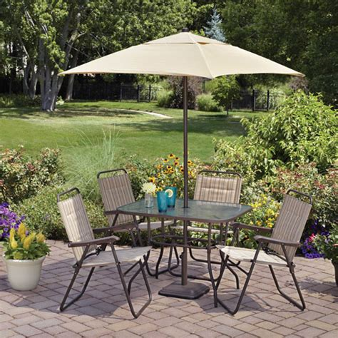 Patio Dining Set With Umbrella Mainstays Glenmeadow 6 Folding Patio Dining Set Walmart