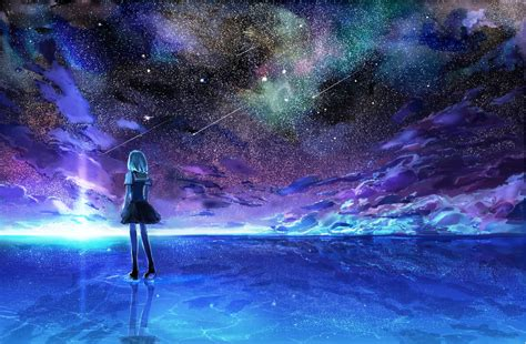 starry night sky girl anime free anime starry night sky wallpapers hd resolution at