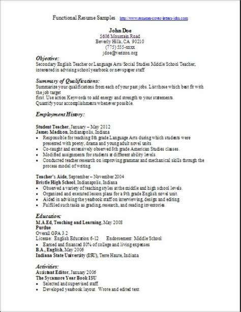 Resume Samples Functional Format