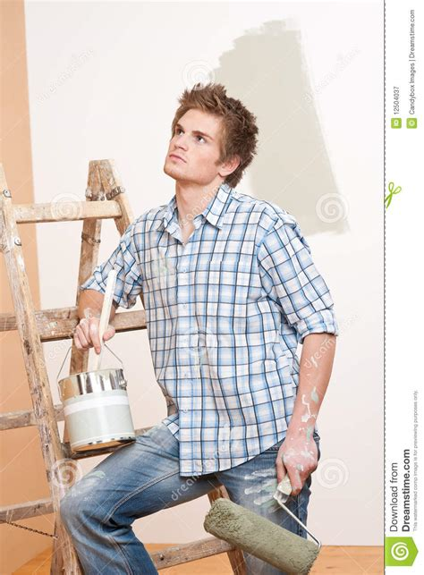 home improvement with paint roller royalty free