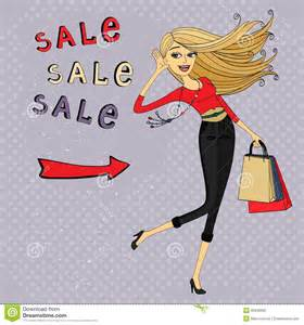 Fashion sale ad shopping girl with bags royalty free stock image