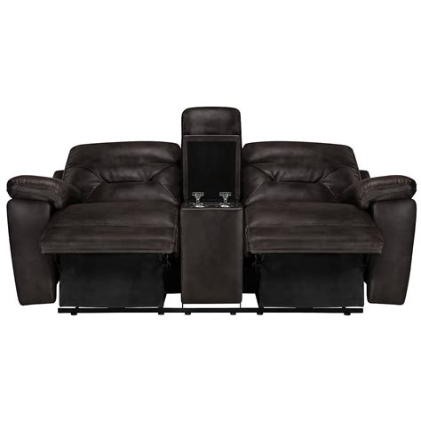 reclining loveseat with console microfiber city furniture phoenix dk gray microfiber power reclining