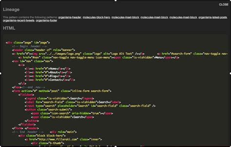 pattern lab css viewing html code on a page view demo 183 issue 44
