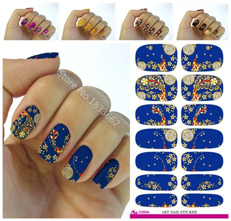 Nail Sticker Minx Nail 3 nails sticker design flowers decor blue 3d manicure sticker minx nail wraps decals