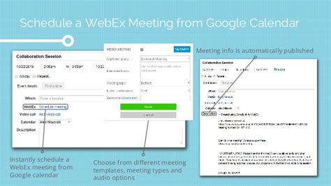 Esna Cloudlink 5 0 For Cisco And Google Apps Webex Scheduling Templates