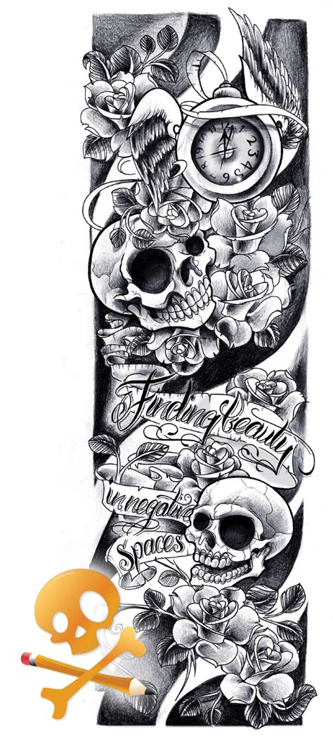 commission skulls sleeve by willemxsm on deviantart