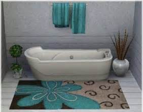 superior Light Blue Bathroom Rugs #1: brown-and-blue-bathroom-rug.jpg