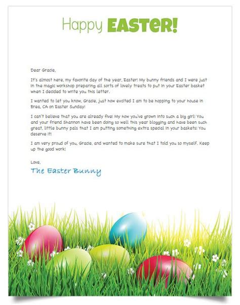 letter to easter bunny template free personalized letter from the easter bunny
