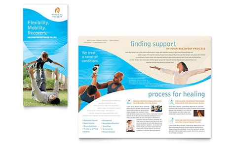 desain brosur instan physical therapist brochure template design