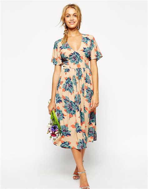 Muddy Floral Print Dresses by Lyst Asos Wedding Midi Tea Dress In Pretty Floral Print
