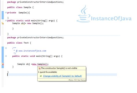 java pattern constructor can we create private constructor in java instanceofjava
