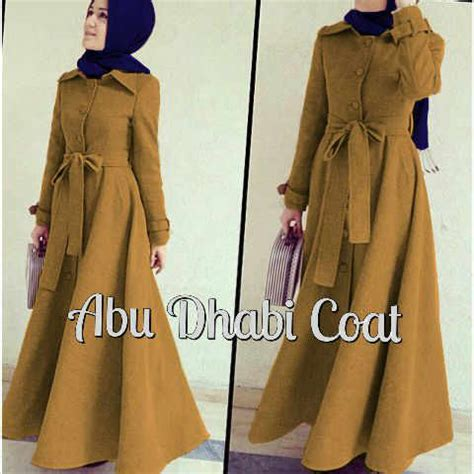 Dress Abu Dhabi Coat jual abu dhabi coat yellow mustard free pashmina